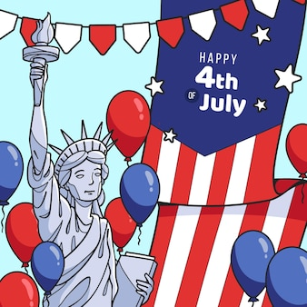Hand gezeichnete 4. juli - unabhängigkeitstag illustration