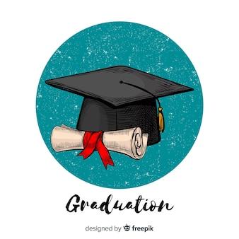Hand gezeichnete abschlusskappe und -diplom
