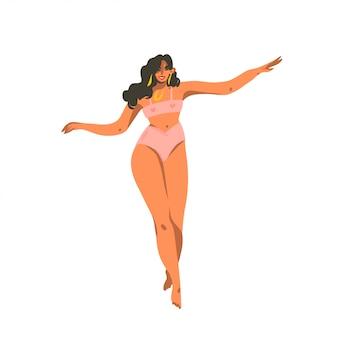 Hand gezeichnete abstrakte aktiengrafikillustration mit der jungen lächelnden frau, die zu hause auf weißem hintergrund tanzt