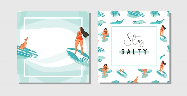 Hand gezeichnete abstrakte exotische sommerzeit lustig speichern die datumskarten set sammlungsschablone mit surfer mädchen, surfbrett und hund auf auf blauen ozean wellen wasser