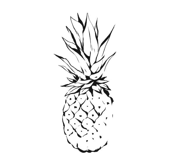 Hand gezeichnete abstrakte exotische tropische tintengrafik, die fruchtananasillustration zeichnet