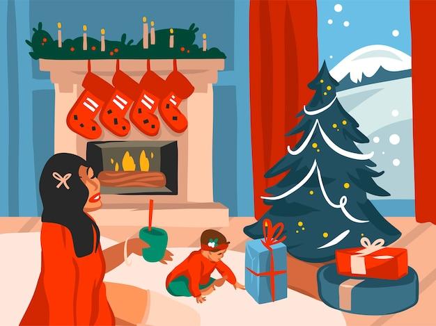 Hand gezeichnete abstrakte flache frohe weihnachten und glückliche neujahrskarikatur festliche illustrationen des großen verzierten weihnachtsbaums und der glücklichen familie im ferienhausinnenraum lokalisiert auf farbigem hintergrund.