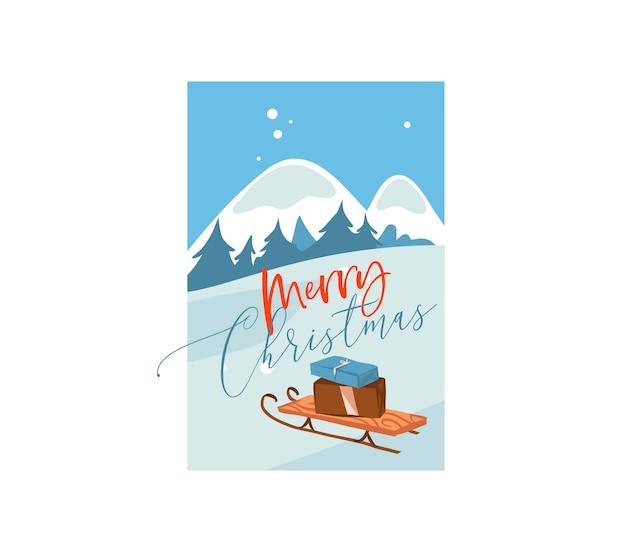 Hand gezeichnete abstrakte flache frohe weihnachten