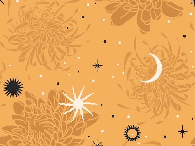 Hand gezeichnete abstrakte flache lagergrafikikonenillustrationsskizze nahtloses muster mit chrysanthemenblumen, mystischem okkultem mond, sonne und einfachen collagenformen lokalisiert auf farbhintergrund.