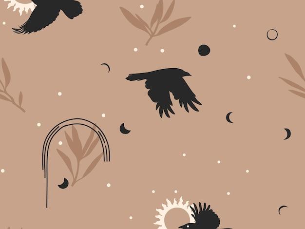 Hand gezeichnete abstrakte flache lagergrafikikonenillustrationsskizze nahtloses muster mit fliegenden krähen, mystischem okkultem mond, sonne und einfachen collagenformen lokalisiert auf farbhintergrund.