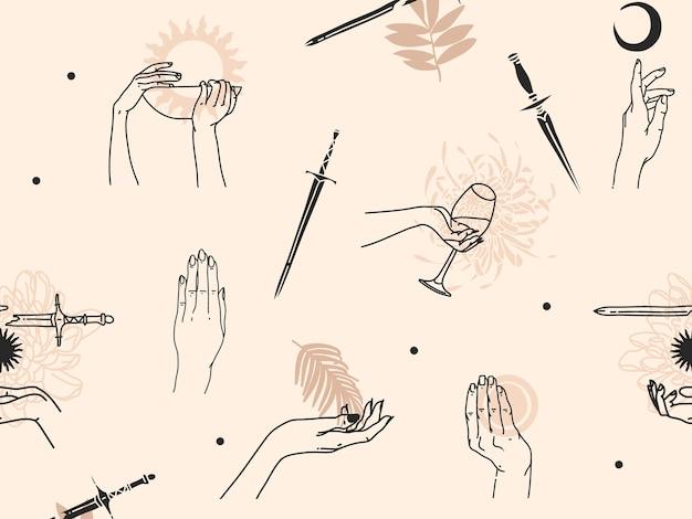 Hand gezeichnete abstrakte flache lagergrafikikonenillustrationsskizze nahtloses muster mit menschlichen, mystischen okkulten händen und einfachen collagenformen lokalisiert auf farbhintergrund.