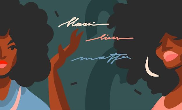 Hand gezeichnete abstrakte flache lagergrafikillustration mit jungen schwarzen afroamerikanischen schönheitsfrauen und handgeschriebenes beschriftungskonzept der schwarzen lebensmaterie lokalisiert auf farbcollagenformhintergrund.