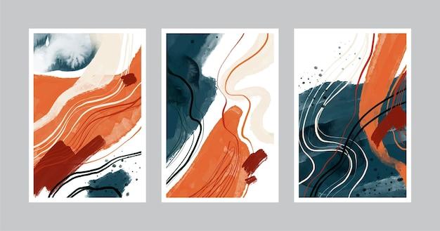 Hand gezeichnete abstrakte formen decken pack ab