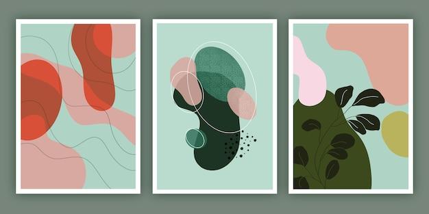Hand gezeichnete abstrakte formen decken sammlung ab Kostenlosen Vektoren