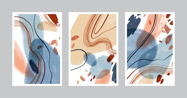 Hand gezeichnete abstrakte formenabdeckungen