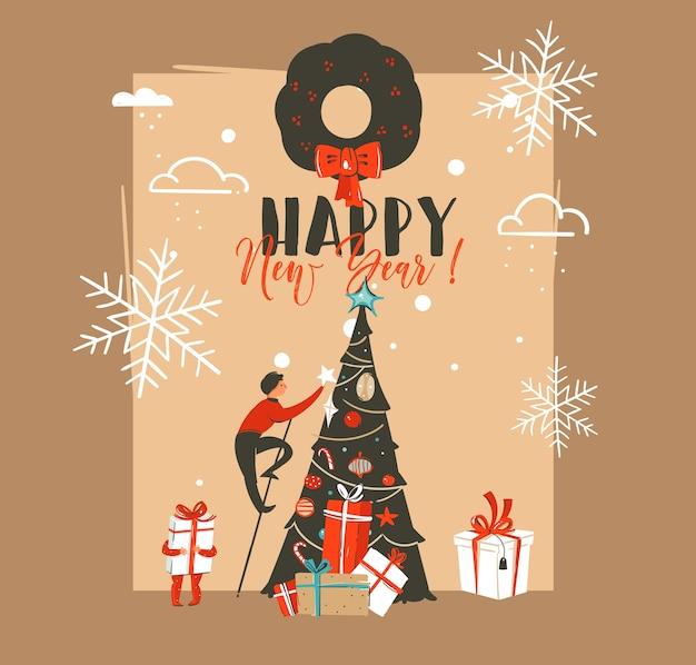 Hand gezeichnete abstrakte frohe weihnachten und frohes neues jahr-weinlese-karikaturillustrationen grußkartenschablone mit familienleuten verziertem weihnachtsbaum lokalisiert auf braunem hintergrund.