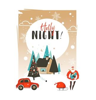 Hand gezeichnete abstrakte frohe weihnachten und glückliche neue jahreszeit