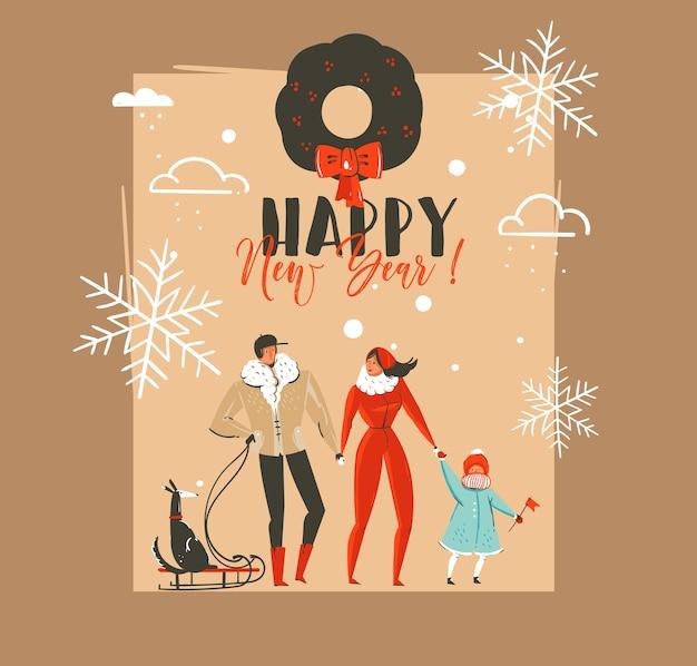 Hand gezeichnete abstrakte frohe weihnachten und glückliche neujahrszeit vintage karikatur illustrationen grußkartenschablone mit familienleuten, die mit hund auf schlitten lokalisiert auf braunem hintergrund gehen.