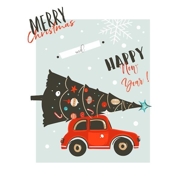 Hand gezeichnete abstrakte frohe weihnachten und glückliche neujahrszeitkarikaturillustrationen retro-weinlese-grußkarte mit rotem auto und verziertem weihnachtsbaum lokalisiert auf weißem hintergrund.