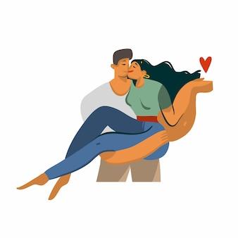 Hand gezeichnete abstrakte grafik der aktienliebesillustration mit jungen romantischen küssenden gehenden paaren zusammen auf weißem hintergrund.
