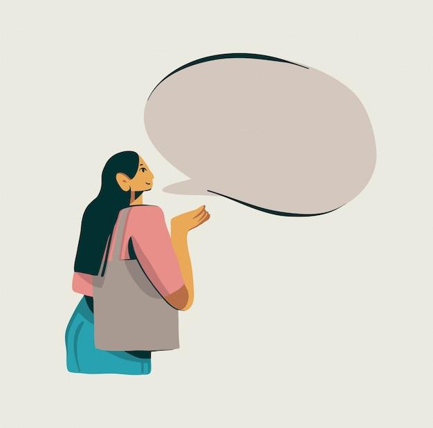 Hand gezeichnete abstrakte grafikillustration auf lager mit charakter des jungen mädchens kaufen und sprechen auf weißem hintergrund.