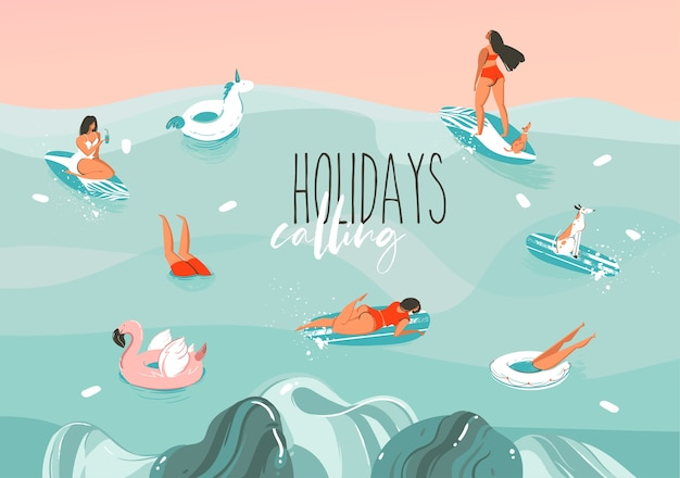 Hand gezeichnete abstrakte grafikillustration auf lager mit einer lustigen sonnenbad-familienmenschengruppe in ozeanwellenlandschaft, die auf farbhintergrund lokalisiert, schwimmt und surft.