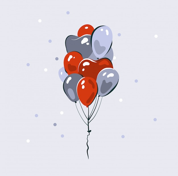 Hand gezeichnete abstrakte grafikillustration auf lager mit hochzeitsinnenballons auf weißem hintergrund