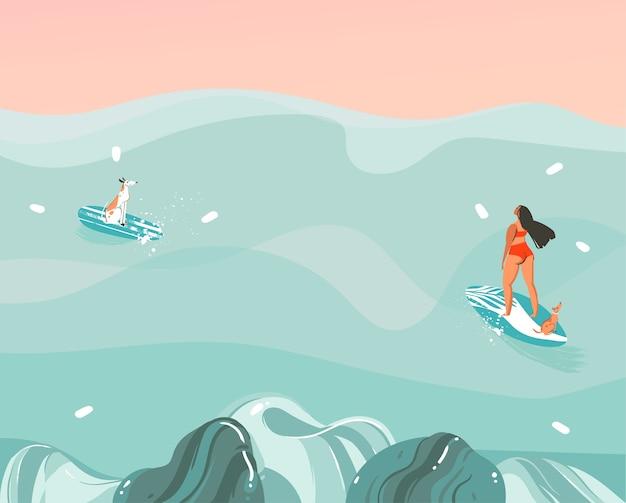 Hand gezeichnete abstrakte grafikillustration der aktie mit einer lustigen sonnenbad-familienmenschengruppe in der ozeanwellenlandschaft, die auf farbhintergrund lokalisiert, schwimmt und surft.