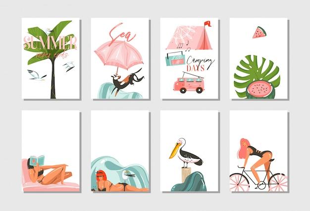 Hand gezeichnete abstrakte grafikkarikatur sommerzeit flache illustrationen karten vorlage sammlung mit strand menschen, camping und fahrrad, palme und tropische vögel lokalisiert auf weißem hintergrund