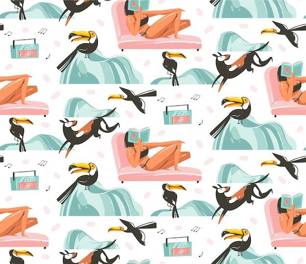 Hand gezeichnete abstrakte grafikkarikatur sommerzeit flache illustrationen nahtloses muster mit mädchen zeichen entspannen auf dem strand mit tropischen tukanvögeln lokalisiert auf weißem hintergrund