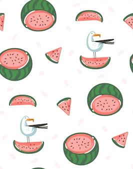 Hand gezeichnete abstrakte grafikkarikatur-sommerzeitillustrationen nahtloses muster mit wassermelonen auf weißem hintergrund