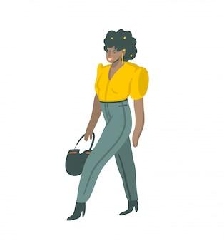 Hand gezeichnete abstrakte grafische illustrationen auf lager, die mit weiblichem charakter der schwarzen schwarzen afro in der straßenmodeart tragen, die auf der straße auf weißem hintergrund tragen