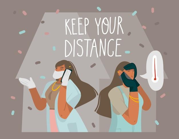 Hand gezeichnete abstrakte grafische illustrationen auf lager mit mädchencharakter entdeckten symptom des koronavirus und ruft einen arzt zu hause und handgeschriebenen text lokalisiert auf farbhintergrund.