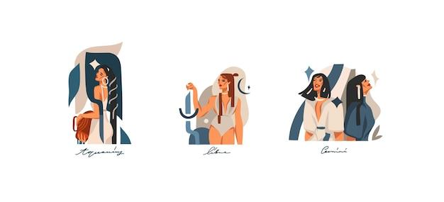 Hand gezeichnete abstrakte grafische illustrationen auf lager