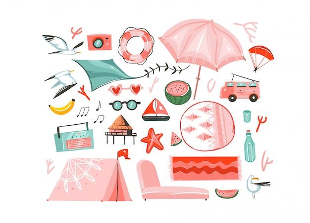Hand gezeichnete abstrakte grafische karikatur sommerzeit flache illustrationen sammlung mit camping zelt, wohnmobil, regenschirm, möwe vögel, plattenspieler, teppiche, strandkabine isoliert auf weißem hintergrund