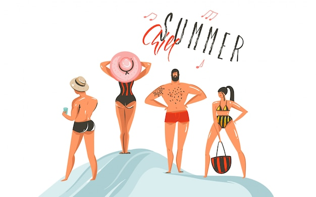 Hand gezeichnete abstrakte grafische karikatur-sommerzeitsammlungsillustrationen, die mit jungen- und mädchencharakteren auf dem strand mit summer chill-typografietext auf weißem hintergrund eingestellt werden