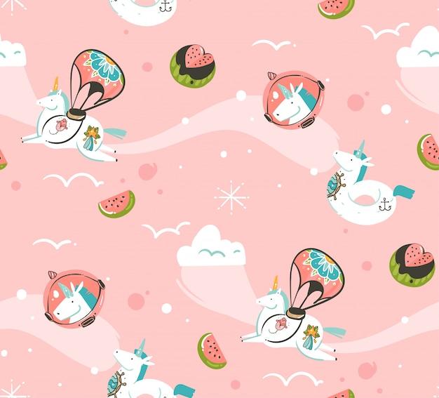 Hand gezeichnete abstrakte grafische kreative karikaturillustrationen nahtloses muster mit kosmonauten-einhörnern mit tätowierung der alten schule, kometen und planeten im kosmos lokalisiert auf rosa hintergrund