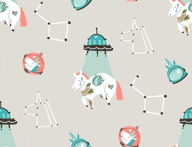 Hand gezeichnete abstrakte grafische kreative künstlerische karikaturillustrationen nahtloses muster mit astronauten-einhörnern mit tätowierung der alten schule, sternen, planeten und raumschiff lokalisiert auf pastellhintergrund
