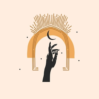 Hand gezeichnete abstrakte illustration, magische linienkunst des halbmonds, weibliche hand