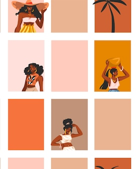 Hand gezeichnete abstrakte illustration mit jungen glücklichen afroamerikanischen frauenlebensstil nahtloses muster