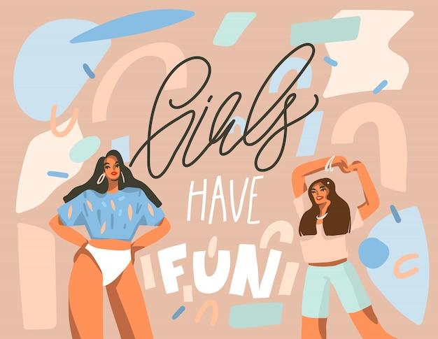 Hand gezeichnete abstrakte illustration mit jungen glücklichen tanzenden positiven frauen mit mädchen haben spaß, handgeschriebenen kalligraphietext auf pastellcollagenhintergrund