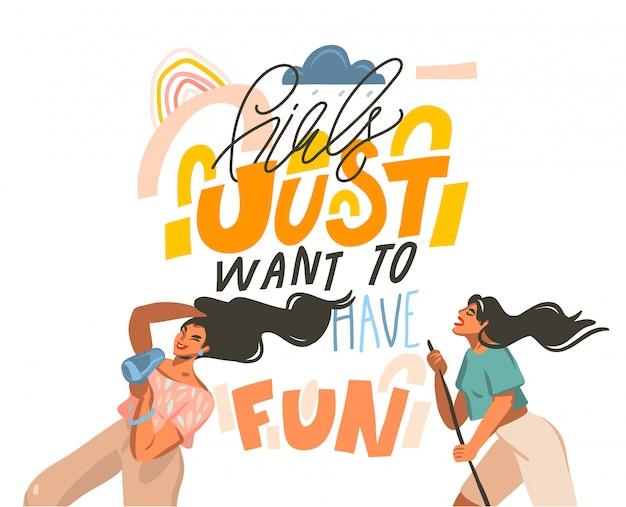Hand gezeichnete abstrakte illustration mit jungen glücklichen tanzenden positiven frauen mit mädchen wollen gerade spaß haben, handgeschriebenen kalligraphietext auf pastellcollagenhintergrund