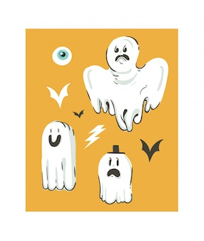 Hand gezeichnete abstrakte karikatur happy halloween illustrationen sammlung mit verschiedenen lustigen geistern dekorationselemente auf orange hintergrund gesetzt.