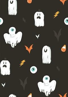 Hand gezeichnete abstrakte karikatur happy halloween illustrationen sammlung nahtloses muster mit verschiedenen lustigen geistern dekorationselemente auf hintergrund.