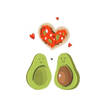 Hand gezeichnete abstrakte karikatur happy valentines day konzept illustrationen karte mit avocado paar und pizzaheart form auf weißem hintergrund