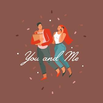 Hand gezeichnete abstrakte karikatur moderne glückliche valentinstag konzeptillustrationskarte mit paaren menschen zusammen und sie und ich text lokalisiert auf farbhintergrund