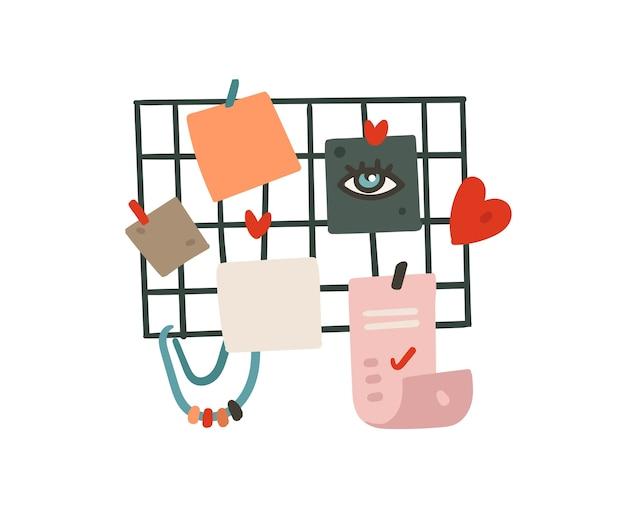 Hand gezeichnete abstrakte karikatur moderne grafik einfache zeichnung moodboard und liste illustration auf weißem hintergrund zu tun.
