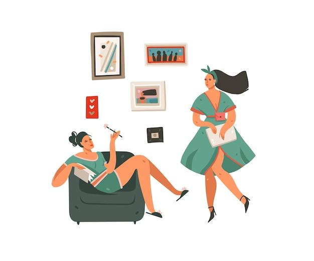 Hand gezeichnete abstrakte karikatur moderne grafik geschäftsfrau mädchen zu hause set illustration kunst auf weißem hintergrund.