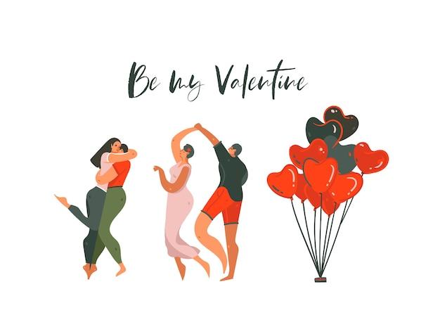 Hand gezeichnete abstrakte karikatur moderne grafik happy valentines day konzept illustrationen