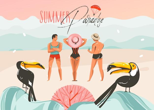 Hand gezeichnete abstrakte karikatur sommerzeit grafik illustrationen kunst vorlage hintergrund mit ozean strand landschaft, rosa sonnenuntergang, tukan vögel und gruppe von menschen mit sommer paradies typografie