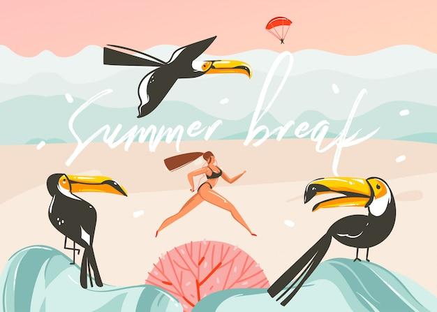 Hand gezeichnete abstrakte karikatur sommerzeit grafik illustrationen kunst vorlage hintergrund mit ozean strand landschaft, rosa sonnenuntergang, tukan vögel und laufende schönheit mädchen mit sommer pause typografie