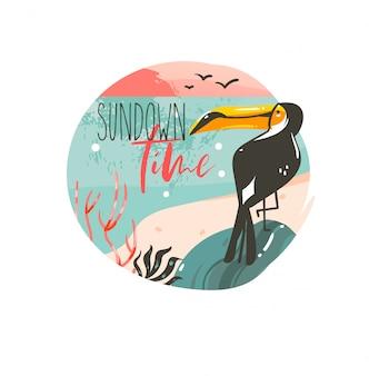 Hand gezeichnete abstrakte karikatur sommerzeit grafik illustrationen vorlage hintergrund abzeichen design mit ozean strand landschaft, rosa sonnenuntergang und schönheit tukan vogel mit sundown zeit typografie text