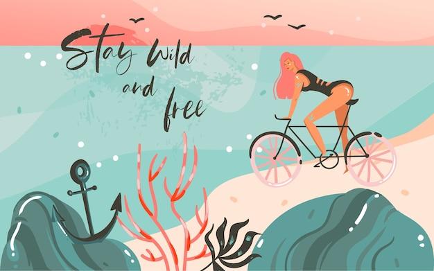 Hand gezeichnete abstrakte karikatur sommerzeit grafik illustrationen vorlage hintergrund mit ozean strand landschaft, sonnenuntergang, schönheit mädchen auf fahrrad und bleiben wild und freie typografie zitat text.