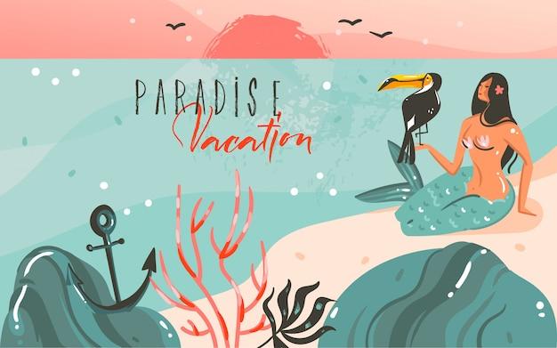 Hand gezeichnete abstrakte karikatur sommerzeit grafik illustrationen vorlage hintergrund mit ozean strand landschaft, sonnenuntergang und schönheit mädchen meerjungfrau, tukan vogel mit paradies urlaub typografie zitat