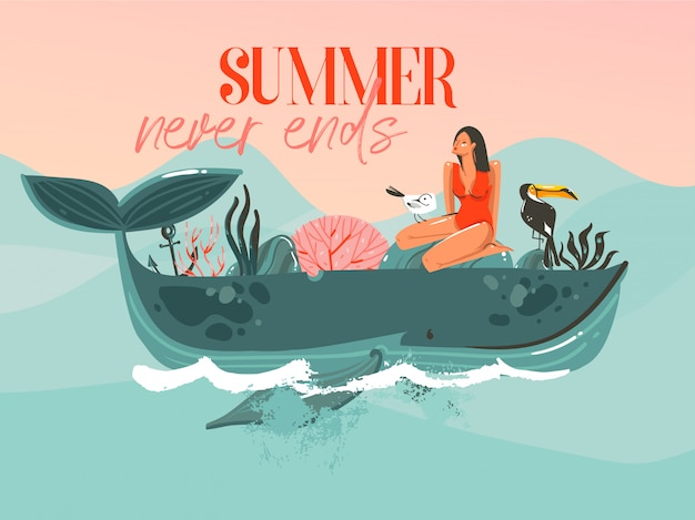 Hand gezeichnete abstrakte karikatur sommerzeit grafik illustrationen vorlage karte mit mädchen, wal auf blauen wellen und moderne typografie sommer endet nie auf rosa sonnenuntergang hintergrund